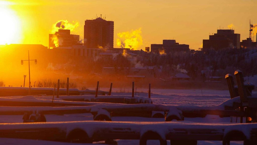 The Yellowknife skyline in winter from Back Bay.
